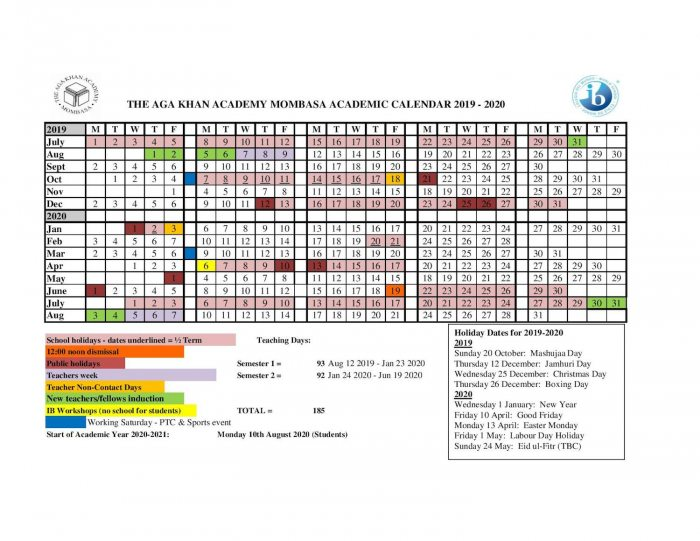Fall Academic Calendar 2020.2019 2020 Academic Calendar Aga Khan Academies