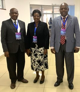 From left to right, Dr Maina WaGíokò with Prof Gakuu Mwangi (Principal of ODeL) and Prof Nyonje (committee member)
