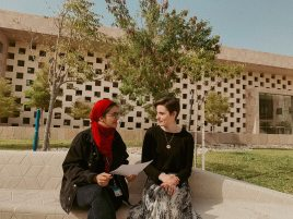 Aleesha and her colleague at UCL-Qatar