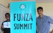 Bilal Adamjee with a student at Funza summit