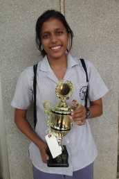 Saumya Gupta with her trophy for her piano piece