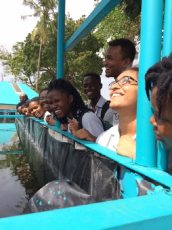 Students share a light moment during the trip