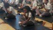 DP1 meditation session on mindfulness led by DP2 students using chocolate as a focus