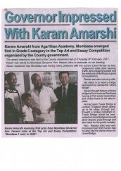 Governor Impressed with Karam Amarshi