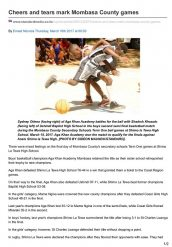 Cheers and Tears Mark Mombasa County Games