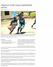 AKA Mombasa's boys' basketball team is featured in the Daily Nation.
