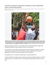 AKA Mombasa basketball team featured in The Standard for retaining their tittles at county games