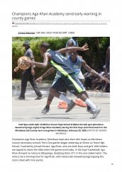 AKA Mombasa basketball teams mentioned in The Standard for wonderful start at County games.