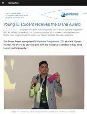 Ziyaan Virji, DP2, is featured for receiving the Diana Award.