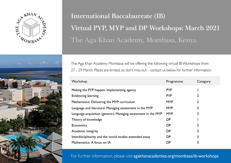 AKA Mombasa 2021 IB Workshops