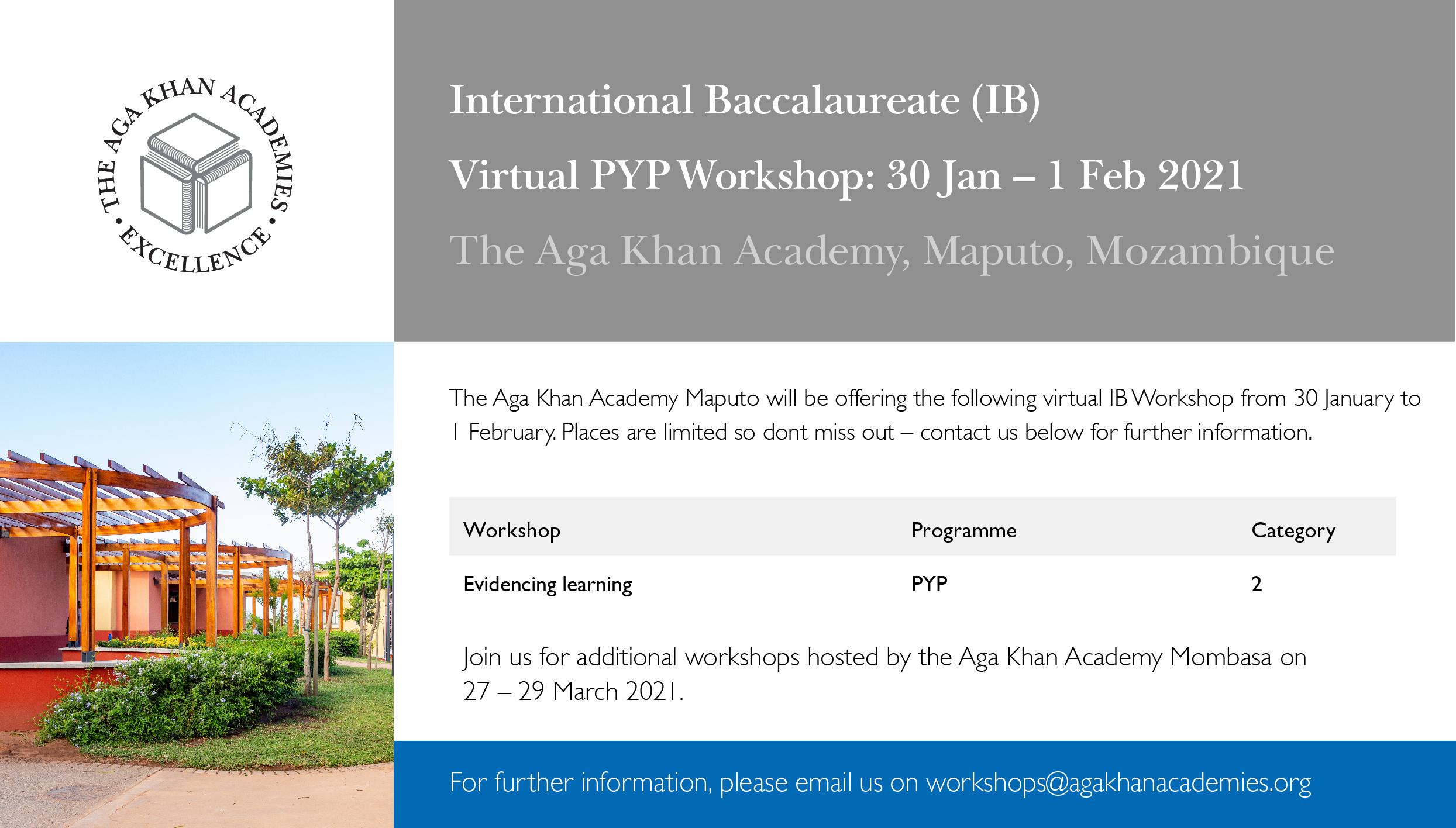 AKA Maputo virtual IB workshop flier