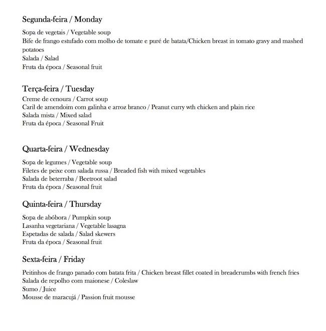 AKA Maputo sample menu