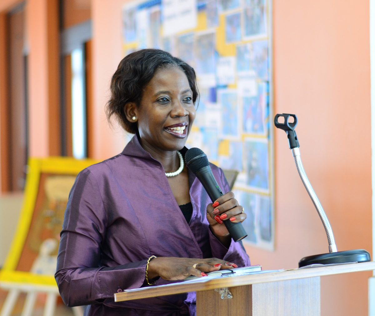 Gina Guibunda, National Director of Primary Education, addressing  participants in the Academy's different training