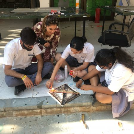 Taniya helps students in Hyderabad with their research