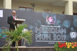 Mr Malik addresses students on education and pluralism at the Meridian School in Hyderabad