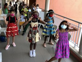 AKA Maputo JS students in capulana outfits to commemorate their celebration of Marrabenta