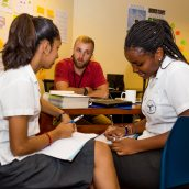 Academy Fellow, Ryan, works with students on their university applications