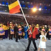 Joshua bears the Uganda flag at the 2016 Rio Olympic Games