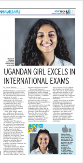 Class of 2020 students at the Aga Khan Academy Mombasa; Muskaan Baidhani, Alisha Doshi and Ohad Mutua are featured in Uganda's newspaper 'New Vision' for their outstanding achievements in IB exams.