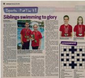 Siblings compete in swimming competitions.