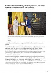 Year 10 student Maaher Bhaloo featured on AKDN website for proposing affordable and sustainable electricity for Zanzibar