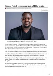 The Independent, a Ugandan newsmagazine, features AKA Mombasa alumnus, Ham Serunguji after receiving $USD30 million in funding for his fintech startup, Chipper Cash